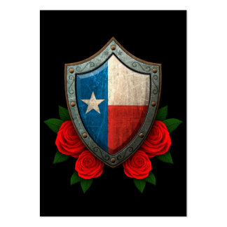 Worn Texas Flag Shield with Red Roses Large Business Cards (Pack Of 100)
