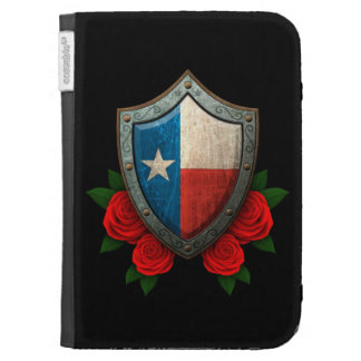 Worn Texas Flag Shield with Red Roses Cases For The Kindle