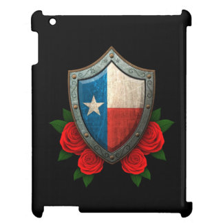 Worn Texas Flag Shield with Red Roses Case For The iPad 2 3 4