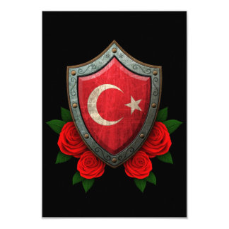 Worn Turkish Flag Shield with Red Roses Personalized Invites