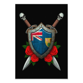 Worn Turks and Caicos Flag Shield and Swords Announcement