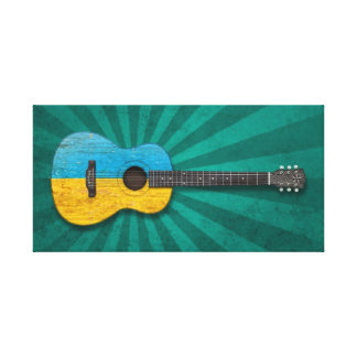 Worn Ukrainian Flag Acoustic Guitar, teal Gallery Wrapped Canvas