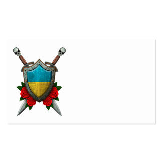 Worn Ukrainian Flag Shield and Swords with Roses Business Card Templates