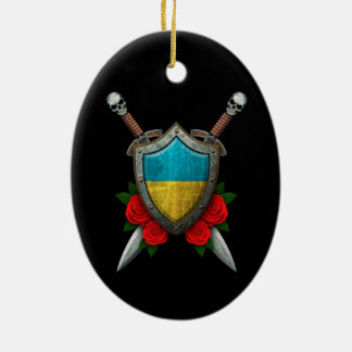 Worn Ukrainian Flag Shield and Swords with Roses Christmas Ornament