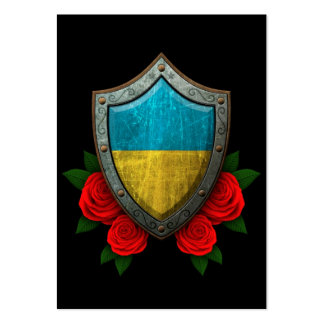 Worn Ukrainian Flag Shield with Red Roses Business Card Template