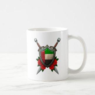 Worn United Arab Emirates Flag Shield and Swords Coffee Mug