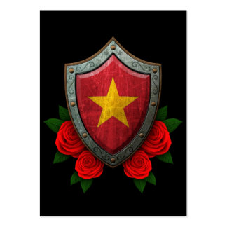 Worn Vietnamese Flag Shield with Red Roses Business Cards