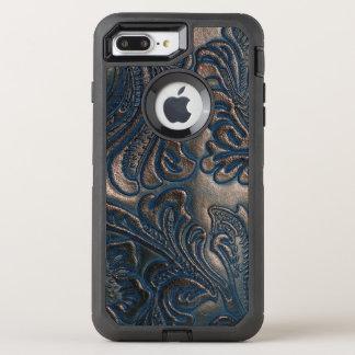 Worn Vintage Embossed Brown Leather Design OtterBox Defender iPhone 8 Plus/7 Plus Case