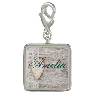 worn wood,white lace,wood heart,romantic,trendy,mo photo charms