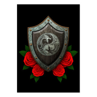 Worn Yin Yang Dragons Shield with Red Roses Large Business Cards (Pack Of 100)