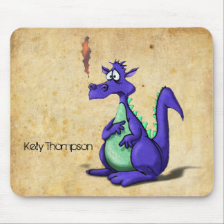Worried Purple Dragon Cartoon Mouse Pad