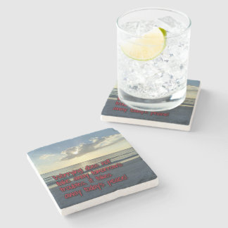 Worries Trobules and Peace Stone Beverage Coaster