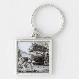 Worship of the Sun, engraved by R. Ehnshelwood Silver-Colored Square Key Ring