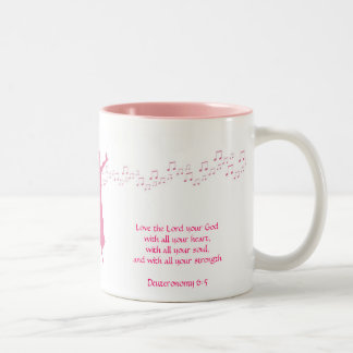 Worship siloutte pink Two-Tone coffee mug