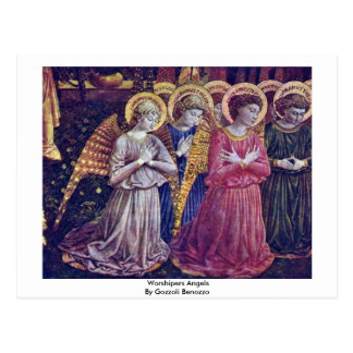 Worshipers Angels By Gozzoli Benozzo Postcard