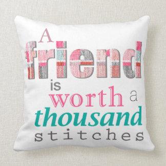 Worth A Thousand Stitches Typography Throw Pillow