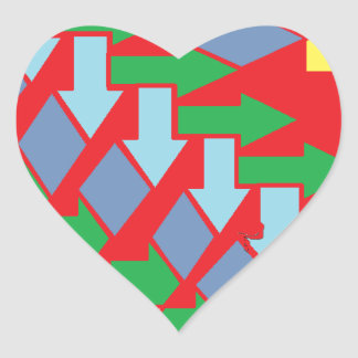 Woven Arrows Design Heart Sticker