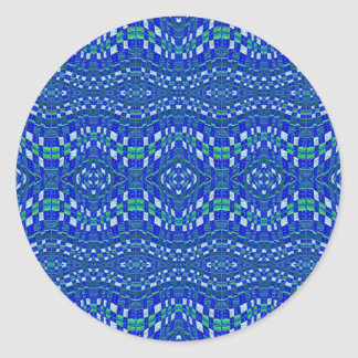 woven blue bumps round sticker
