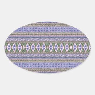 woven borders blue oval sticker