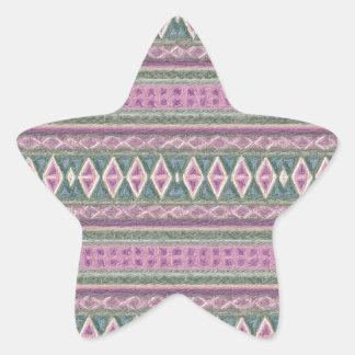 woven borders,pink star sticker