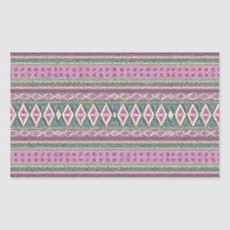 woven borders pink rectangle sticker