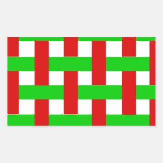 Woven Christmas Stripes Rectangular Sticker