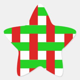 Woven Christmas Stripes Star Sticker