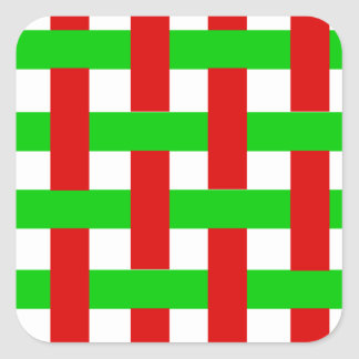 Woven Christmas Stripes Square Stickers