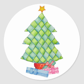 Woven Christmas Tree Round Stickers