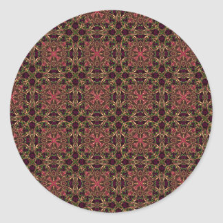 Woven effect Brown and Red X Repeating Pattern Round Sticker