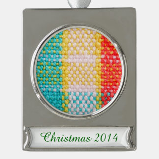 Woven Fabric Print Silver Plated Banner Ornament