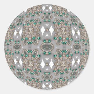 Woven Green Jewels Classic Round Sticker