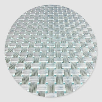 Woven Grid Round Stickers
