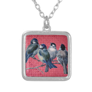 """""""Woven Harakeke""""- Magenta with Spring birds Silver Plated Necklace"""