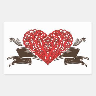 Woven Heart Valentines Day Rectangular Sticker