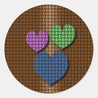 Woven Hearts Classic Round Sticker