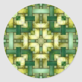 Woven Jade Round Stickers