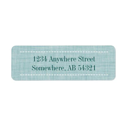 Woven Linen Fabric Texture in Aqua Teal Return Address Label