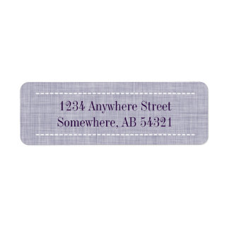 Woven Linen Fabric Texture in Indigo Purple Return Address Label
