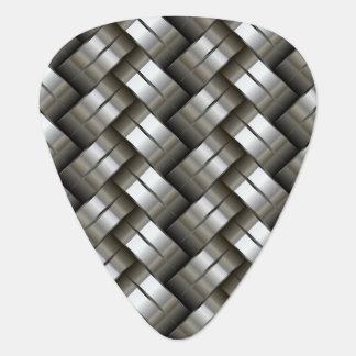 Woven metal pattern guitar pick