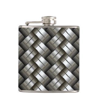 Woven metal pattern hip flask