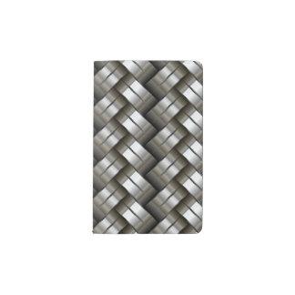 Woven metal pattern pocket moleskine notebook