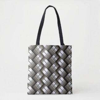 Woven metal pattern tote bag
