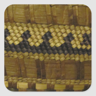 Woven NW Coast Indian Fiber Art Square Sticker