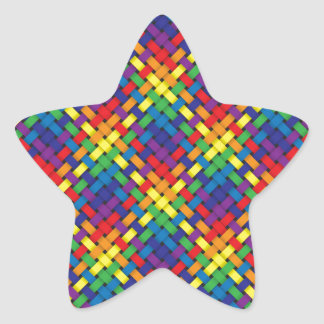 Woven Rainbow Pattern on Gray Star Sticker