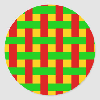 Woven Rasta Round Stickers