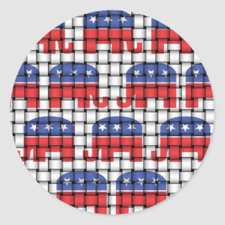 Woven Republican Elephants Round Sticker