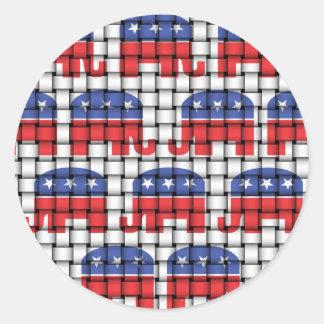 Woven Republican Elephants Round Sticker