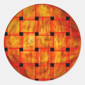 woven silk1 round sticker