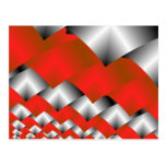 Woven Silver and Red Fractal Art Postcard